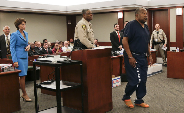 Although O.J. Simpson, right, was acquitted in 1995 in the killings of his wife, Nicole Brown Simpson, and her friend, Ronald Goldman, he later lost a civil suit and was ordered to pay $33.5 million to the estates of Ms. Simpson and Mr. Goldman. (Pool photo by Julie Jacobson/New York Times)