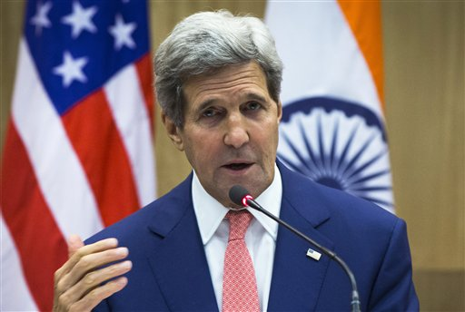 U.S. Secretary of State John Kerry speaks during a press conference addressed jointly with Indian Foreign Minister Sushma Swaraj in New Delhi, India, Thursday, July 31, 2014. This is Kerry's first visit to India following the resounding election win of Prime Minister Narendra Modi in May. (AP Photo/Lucas Jackson, Pool)