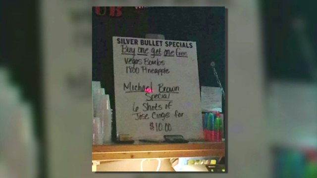 "The ""Michael Brown Special"" advertisement at Mugshots Bar in St. Joseph, Mo. (Courtesy of Twitter)"