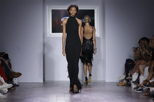 The Serena Williams Spring 2016 collection is modeled during Fashion Week in New York, Tuesday, Sept. 15, 2015. (AP Photo/Mary Altaffer)