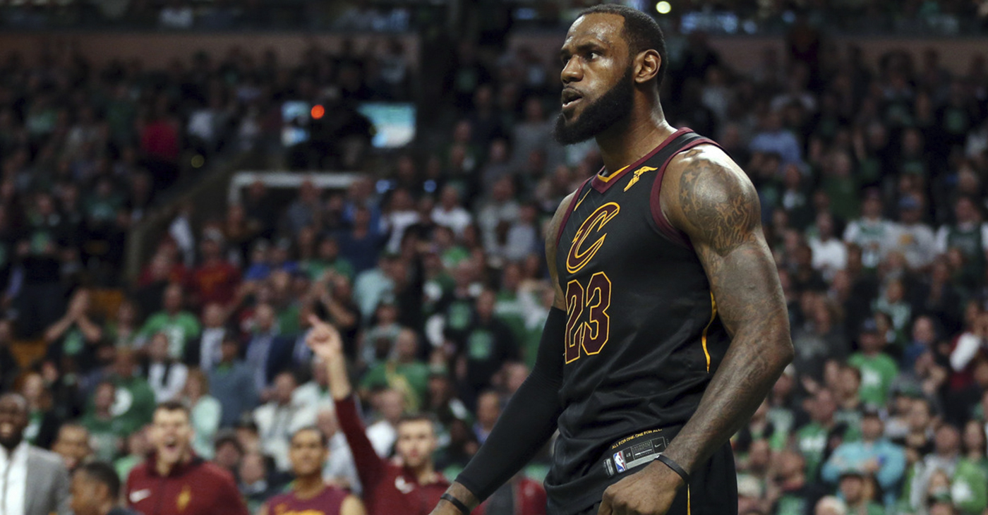 In this May 27, 2018 file photo, Cleveland Cavaliers forward LeBron James celebrates a basket against the Boston Celtics during the second half in Game 7 of the NBA basketball Eastern Conference finals, in Boston. (AP Photo/Elise Amendola, File)
