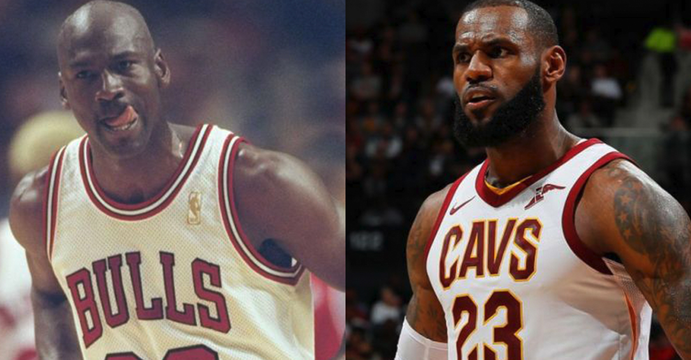 (l-r) Michael Jordan and LeBron James