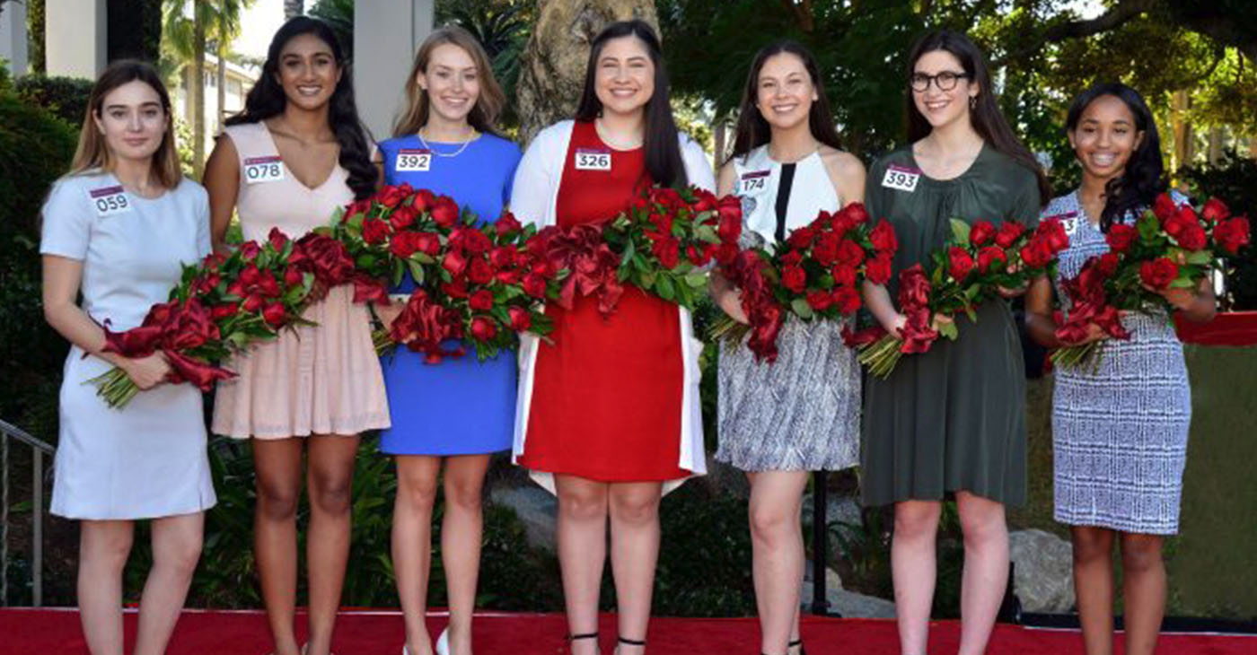 From left to right; Helen Susan Rossi, Rucha Kadam, Lauren Michele Baydaline, Micaela Sue McElrath, Sherry Xiaorui Ma, Louise Deser Siskel, Ashley Symone Hackett. Photo courtesy, Pasadena Tournament of Roses.