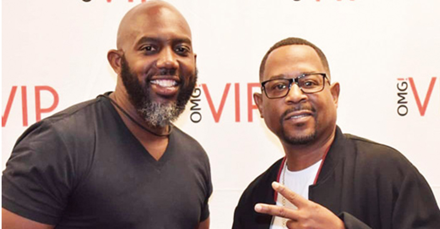 Shown with Martin at the VIP meet and greet is local comedian Ozrick Cooley.