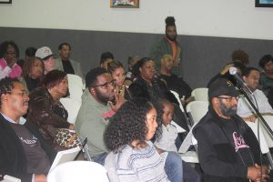 Black Parents' Town Hall attendees listening to panelists