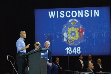 Former President Barack Obama told the crowd, the only way to make a change is to vote. (Photo by Ana Martinez-Ortiz)