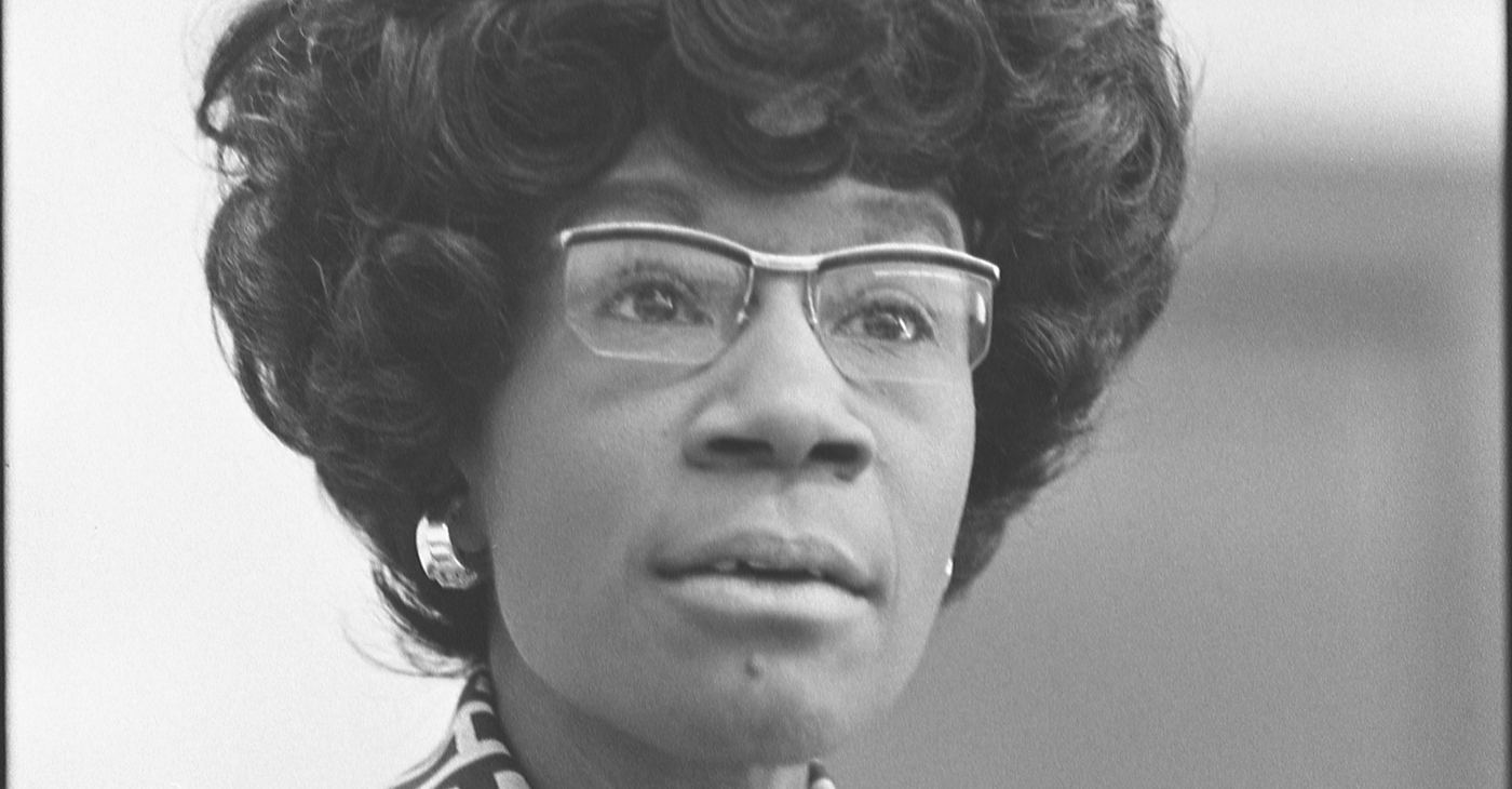Shirley Chisholm, future member of the U.S. House of Representatives (D-NY), announcing her candidacy, 25 January 1972, Thomas J. O'Halloran, U.S. News & World Reports. Light restoration by Adam Cuerden