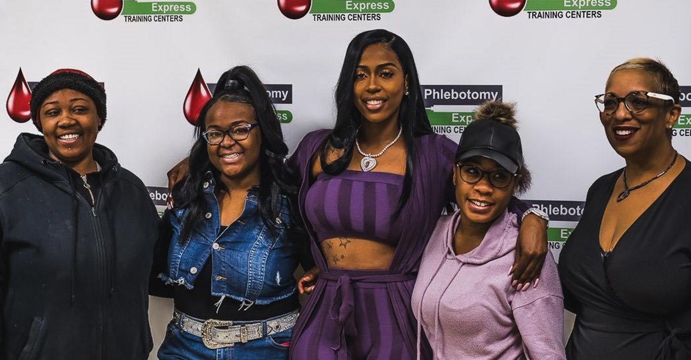 Cheetara Smith, Tykeisha Campbell, Kash Doll, Deneshia Reese, and Phlebotomy Express' CEO Kimberly Harrington. PHOTO: Jonathan Burns