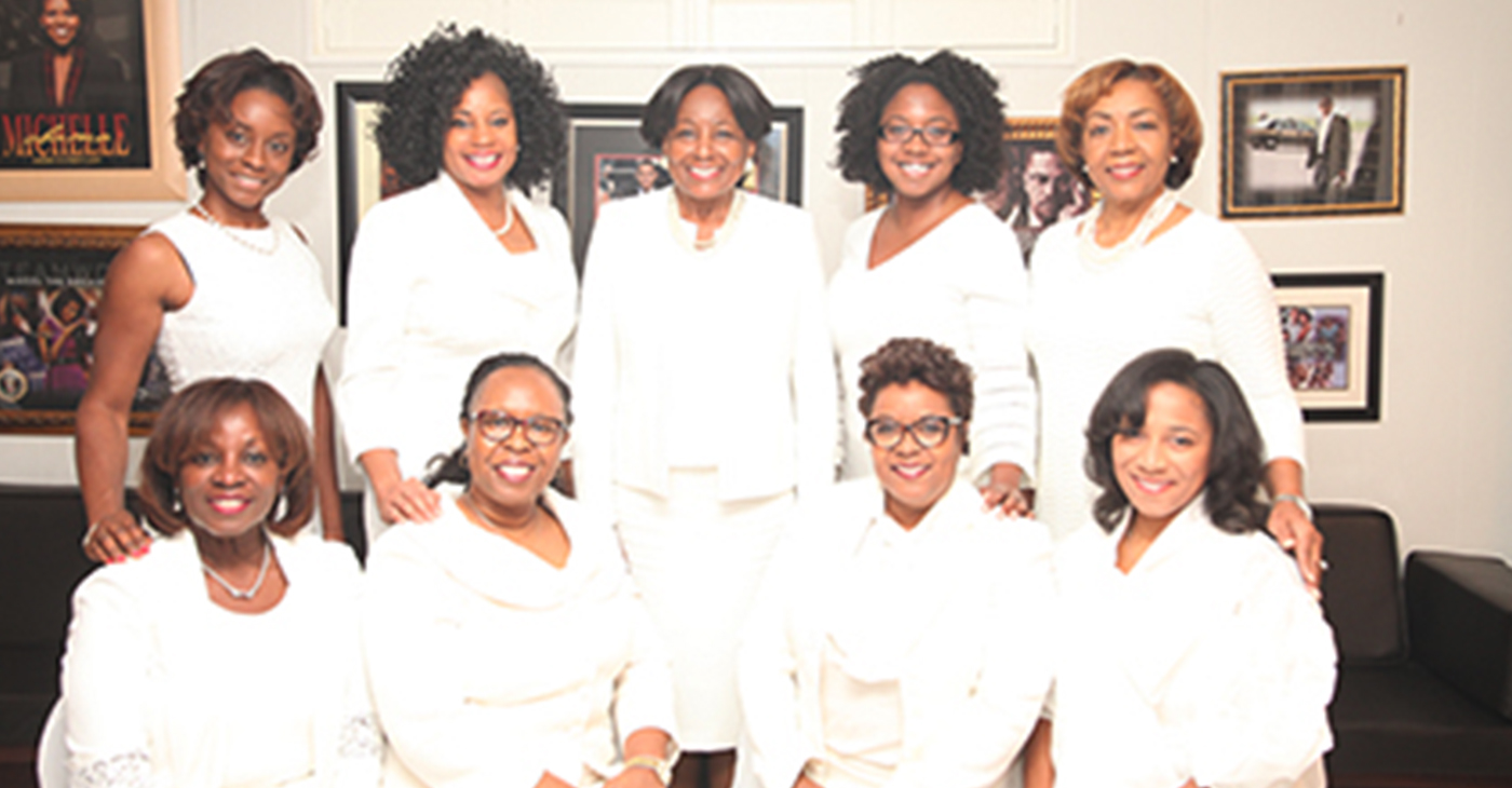 Seated l-r; Delores Gardner Stokes, Coretta Dillard Dawkins, Sondrea Tolbert and Stephanie Williams; Standing l-r; Cherelle Lans, Ms. June Michaux, Gwen Brown-Felder, Candace Waller and Belinda Teamer Webb