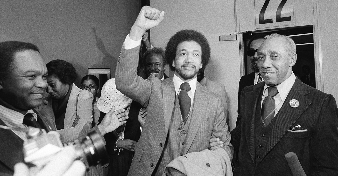 The Rev. Benjamin Chavis gives a clenched fist salute on December 14, 1979, after being paroled by then-North Carolina governor Jim Hunt.