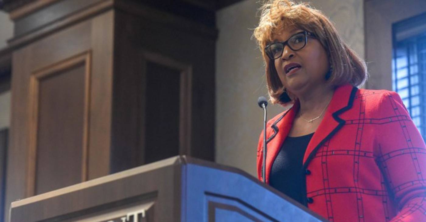 Bishop Vashti Murphy McKenzie speaks at MLK breakfast at Belmont University in Nashville, Tennessee, January 18, 2019. (Photo by pridepublishinggroup.com)