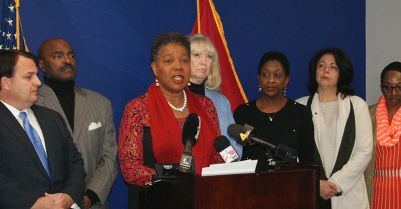 Senator-elect Brenda Gilmore with other elected officials and community activists at a press conference asking Governor Haslam to grant clemency for Cyntoia Brown. Photo by: Nashville Pride