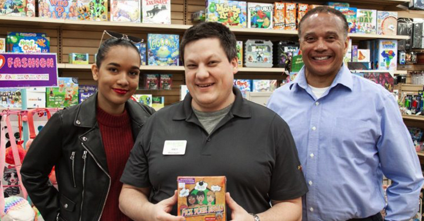 (l-r) Sarai Lewis, Andy, (a Games by James manager), and Mark Lewis \\ Submitted photo