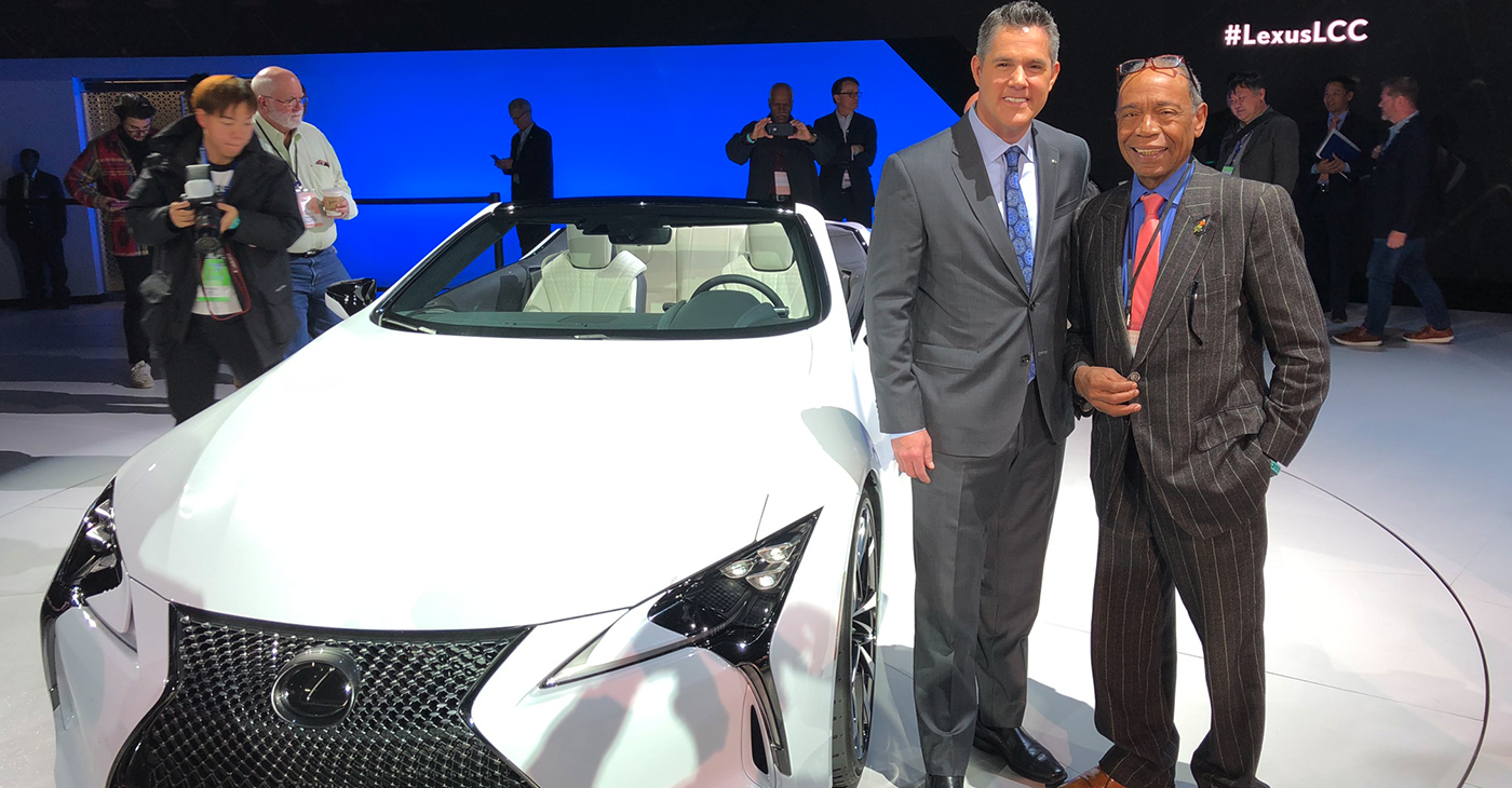 David Christ, Group Vice President and General Manager of the Lexus Division and NNPA National Advertising Consultant & Corporate Partnerships share a moment recently at the Detroit International Automobile Show. The vehicle shown in the picture is the 2019 LC convertible concept, not an actual production vehicle.