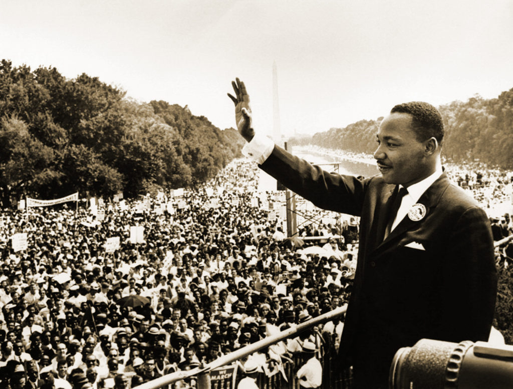 "Martin Luther King, Jr. giving his famous ""I Have a Dream"" speech at the at the 1963 March on Washington. (Wikimedia Commons)"