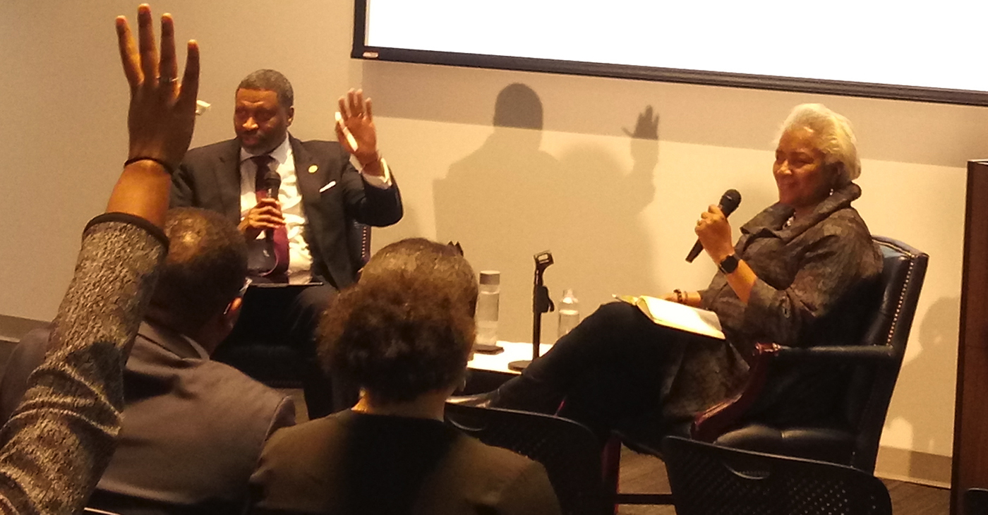 """NAACP President and CEO, Derrick Johnson joins political strategist Donna Brazile, for """"Where Do We Go from Here,"""" a discussion on the state and future of race in America held at the Howard University Interdisciplinary Building. (Photo: Courtesy Photo)"""