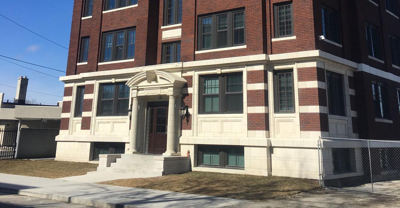 The refurbished St. Rita apartments across from old Northern High School.