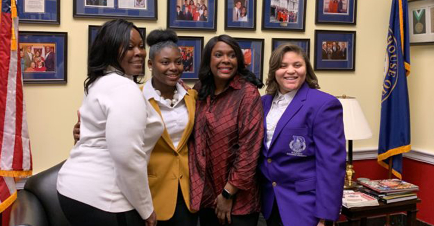 From left: Jefferson County Commissioner Sheila Tyson, Wenonah High School senior, Stacey Foster, Congresswoman Terri Sewell, and Parker High School junior, Kamil Goodman. Tyson, Foster, and Goodman were in Washington D.C. earlier this month for the Black Women's Roundtable (Provided Photo).