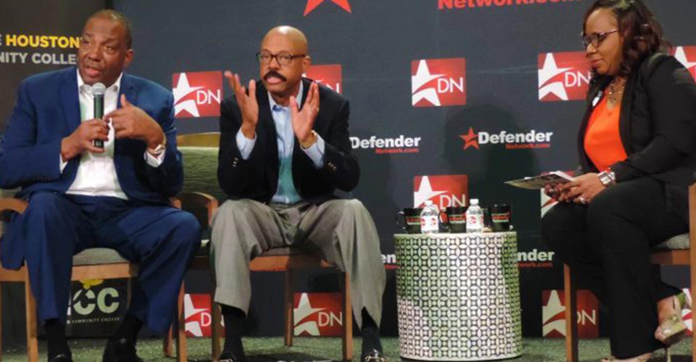 Conversation with Senator Royce West (lfar left) and Senator Borris L. Miles (center) with the Houston Defender. (Photo by: defendernetwork.com)