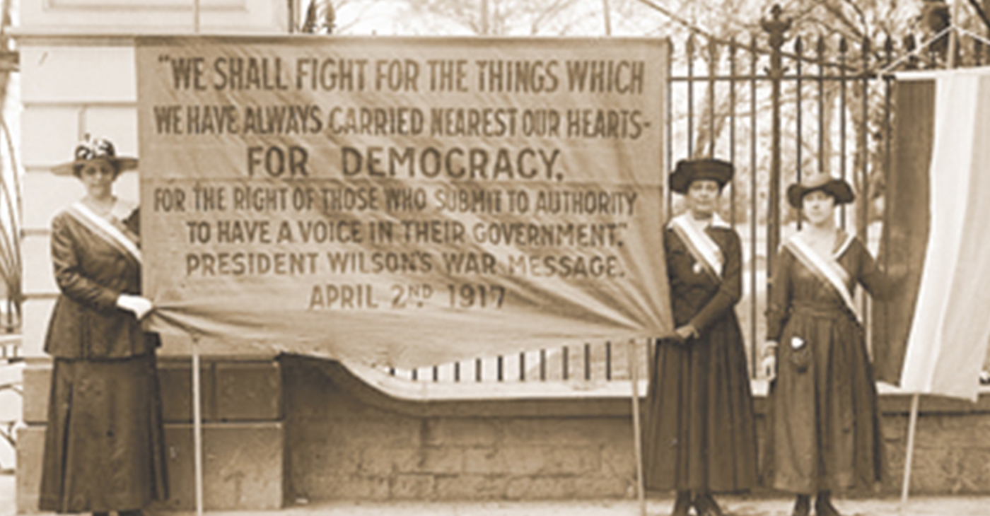 Suffragettes protest outside the White House.(photo courtesy of the Library of Congress)