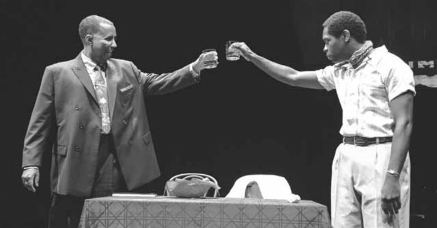 The Mosaic Theatre production of Les Deux Noirs: Notes on Notes of A Native Sun, directed by Raymond Caldwell, written by Psalmayene 24 and starring James J. Johnson (left) and Jeremy Hunter (right) runs at Atlas Performing Arts Center on H St N.E. (Courtesy Photo)
