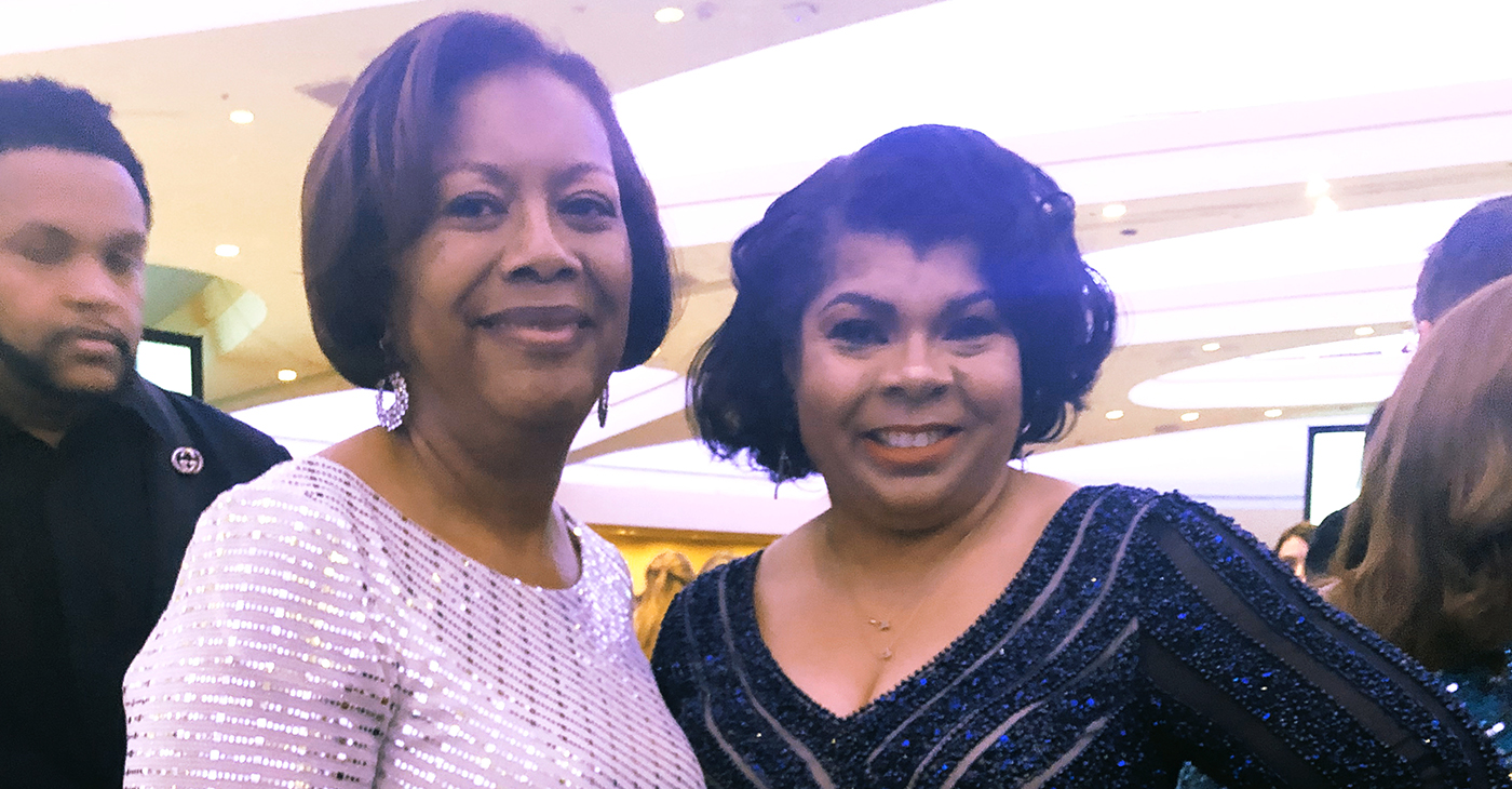 Urban Radio Network White House Correspondent April Ryan (right) and AARP's Senior Vice President of Multicultural Leadership Edna Kane Williams.