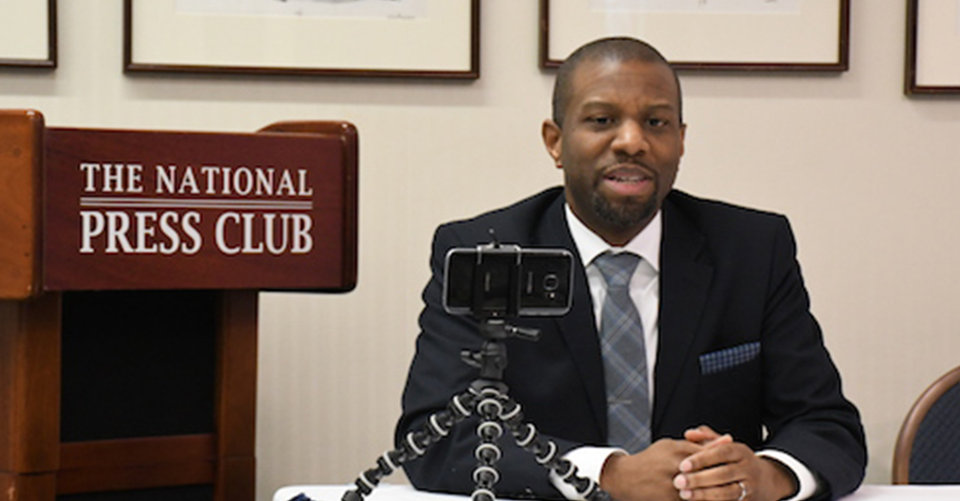 """Ivory Toldson, author of """"No BS (Bad Stats): Black People Need People Who Believe in Black People Enough Not to Believe Every Bad Thing They Hear about Black People,"""" speaks during an event at the National Press Club in northwest D.C. on Feb. 25. (Roy Lewis/The Washington Informer)"""