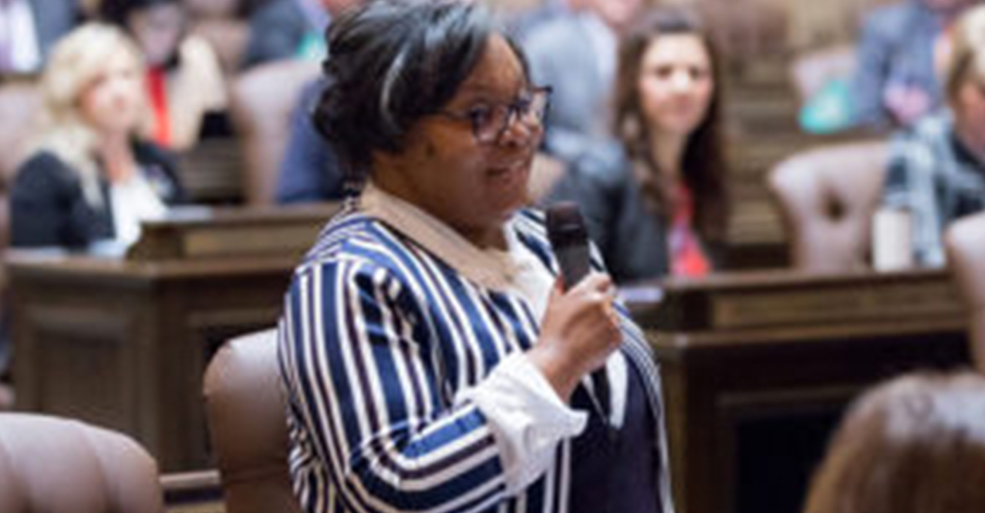State Rep. Debra Entenman (D-47) on the floor of the House, speaking on bill HB 1893. Photo courtesy of the Wa State Legislator.