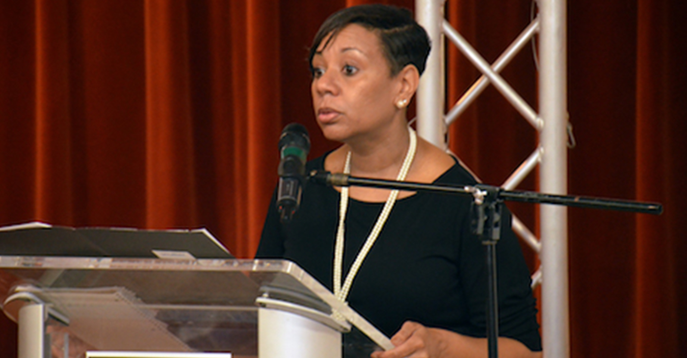 """Prince George's County Public Schools interim Chief Executive Officer Monica Goldson takes part in """"Coffee and Conversations"""" at Reid Temple African Methodist Episcopal Church in Glenn Dale, Maryland, on April 13. (Photo by: Anthony Tilghman 