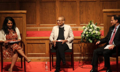 "(Left to right): Zeenat Rahman, Rev. Dr. Kelly Brown Douglas, and Rabbi Jonah Dov Pesner during the ""Religious Perspectives on Bridging Racial & Faith Divides"" event Monday night at Sixteenth Street Baptist Church (Ameera Steward, The Birmingham Times)"