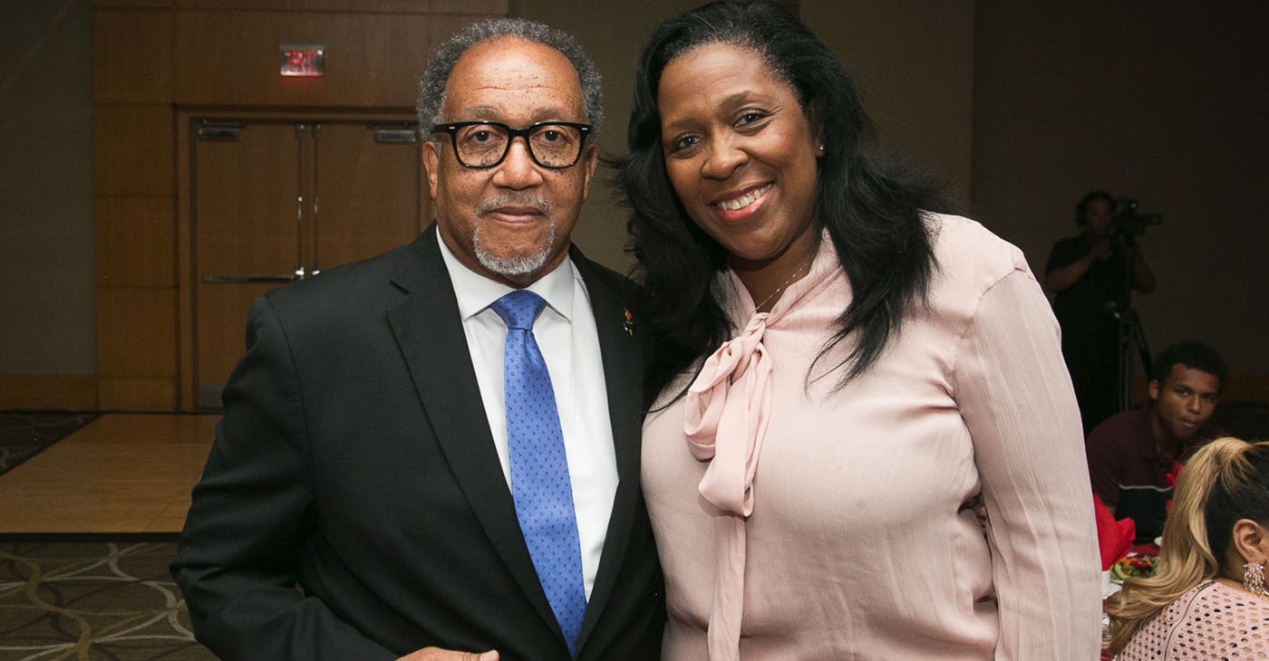 Newly-elected NNPA Chair Karen Carter Richards (pictured right) is joined by NNPA President and CEO Dr. Benjamin F. Chavis, Jr. (Photo: Mark Mahoney / Dream in Color Photography / NNPA)