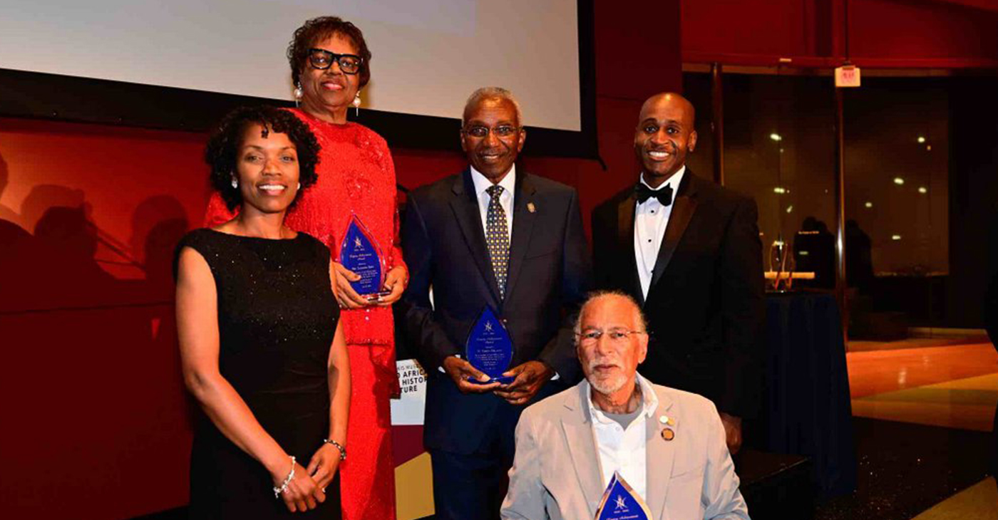 (L to R: Mrs. Steffanie B. Easter, Director, Navy Staff, Office of the Chief of Naval Operations; Mrs. Earnestine Baker, Executive Director – Emerita Meyerhoff Scholars Program, University of Maryland, Baltimore County, Legacy Achievement Award Honoree; Dr. Eugene M. DeLoatch, Dean Emeritus Morgan State University School of Engineering, Legacy Achievement Award Honoree; Dr. James E. West, Inventor, Professor, Johns Hopkins University, Legacy Achievement Award Honoree; Mr. William S. Redmond, III, President, NSBEBMAC) (Courtesy Photo)