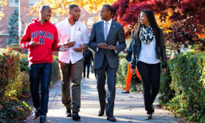 Howard University led with 12 finalist nominations for the 2019 HBCU Awards presented by the {HBCU Digest}, including President Wayne A.I. Frederick, pictured in the suit, who was nominated for Best Male President. (Courtesy Photo)
