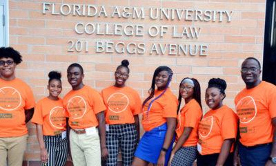 Students from Jones High School in Orlando visit the law school.