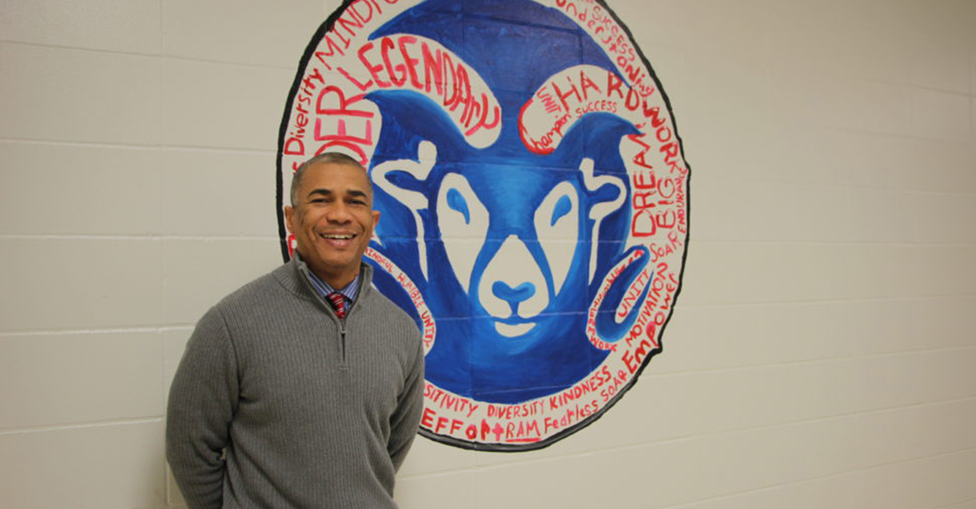This is Reginald Bush's first year as principal at Kashmere High. He previously led Kashmere Gardens Elementary, which beat the odds and got off the state's watch-list. (Photo by: defendernetwork.com)