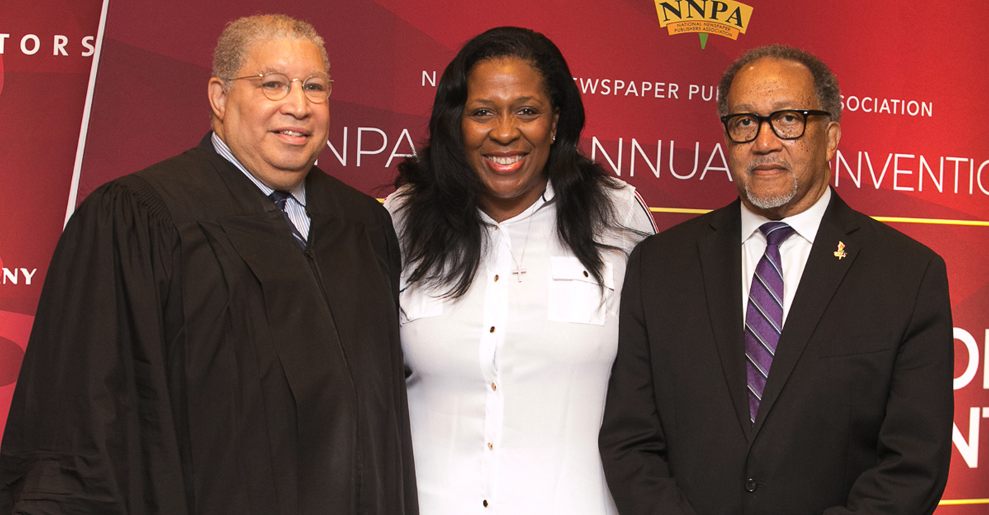 """""""We are the Black Press of America, the National Newspaper Publishers Association, so when I ask are you down with O.B.P., I am talking about letting people know that we are the Original Black Press, and we aren't going anywhere,"""" said newly Elected NNPA Chair, Karen Cater Richards, publisher of the Houston Forward Times. (pictured left to right: Judge Tyrone K.Yates, who officiated the swearing in of officers; Karen Carter Richards, NNPA Chair and publisher of the Houston Forward Times; and Dr. Benjamin F. Chavis, Jr., NNPA President and CEO)"""