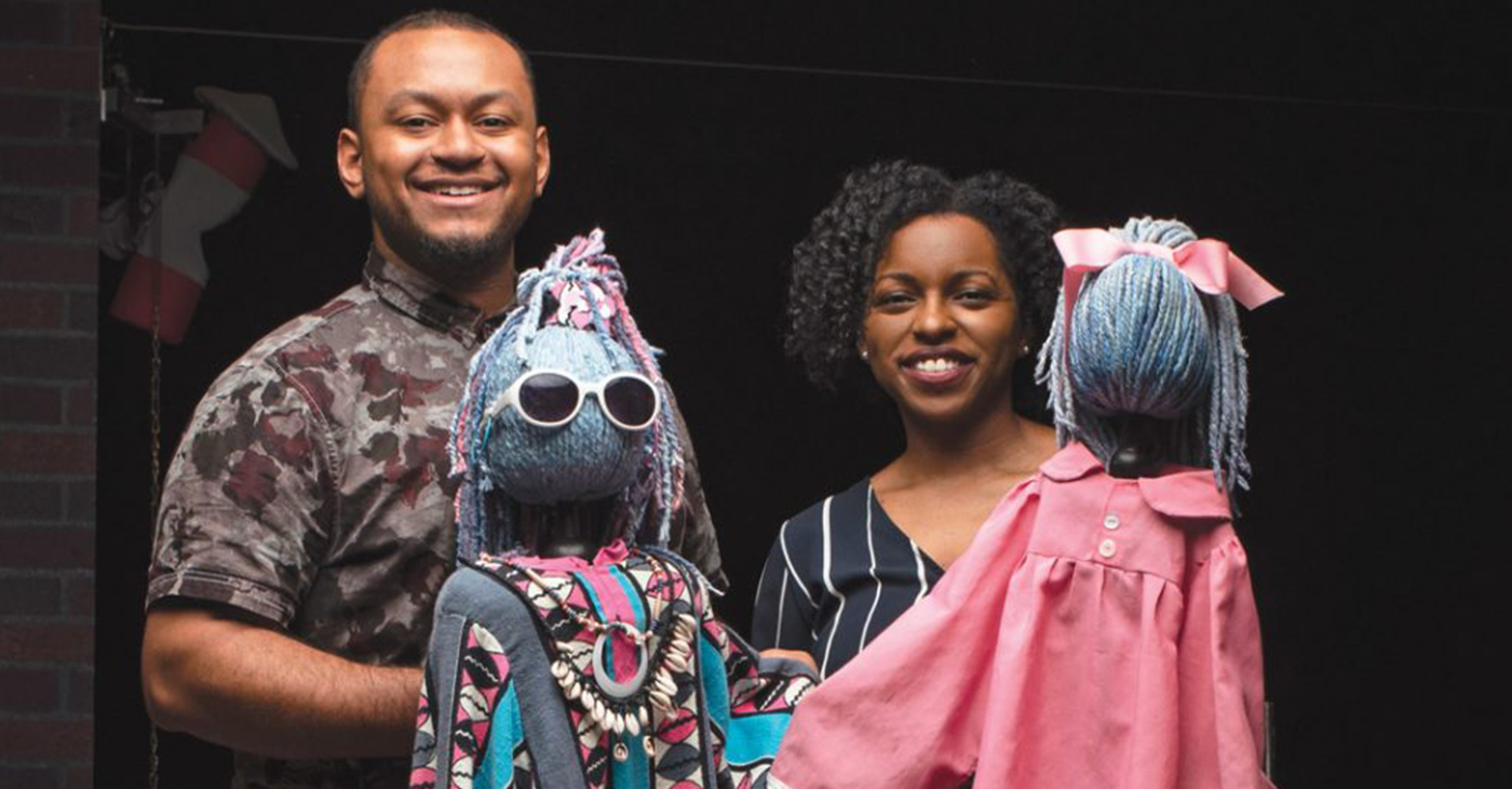 Atlanta-based artists Greg Hunter and Jimmica Collins on set for the Center for Puppetry Arts' 2019 production of 'Beauty and the Beast.' (Photo: Reginald Duncan / The Atlanta Voice)