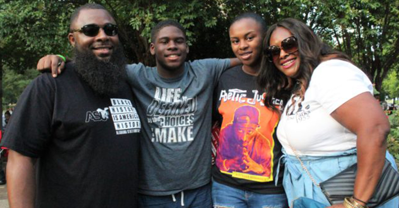 From left: Kenneth Marbry II; Kenneth Marbry III; Amariya Marbry and Patrice Marbry during Freedom Fest (Photo by: Ameera Steward | The Birmingham Times)