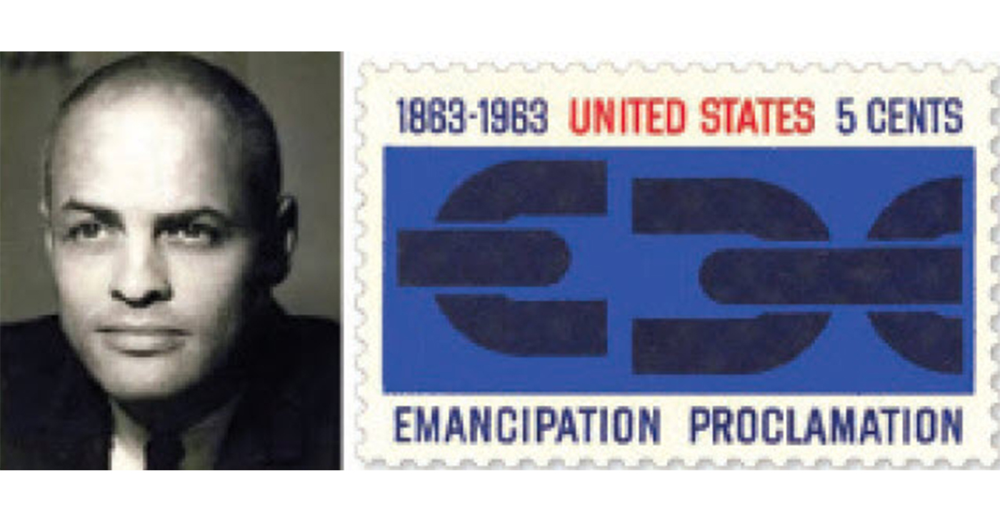 Georg Olden with his design for the postage stamp commemorating the 100th anniversary of the Emancipation Proclamation.