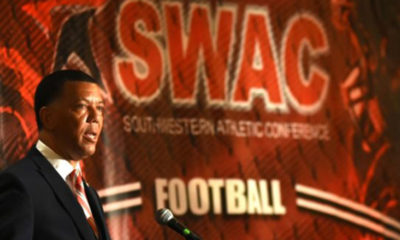 Southwestern Athletic Conference Commissioner Charles McClelland talks about a deal to bring the SWAC basketball championship to Birmingham. (Photo by: Solomon Crenshaw Jr. | Alabama NewsCenter