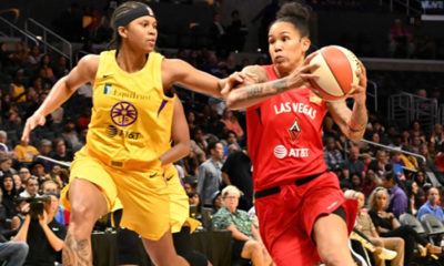 L.A. Sparks forward Tierra Ruffin-Pratt defends Las Vegas Aces forward Tamera Young (Photo by: Emarie Marie/T.G.Sportstv1)
