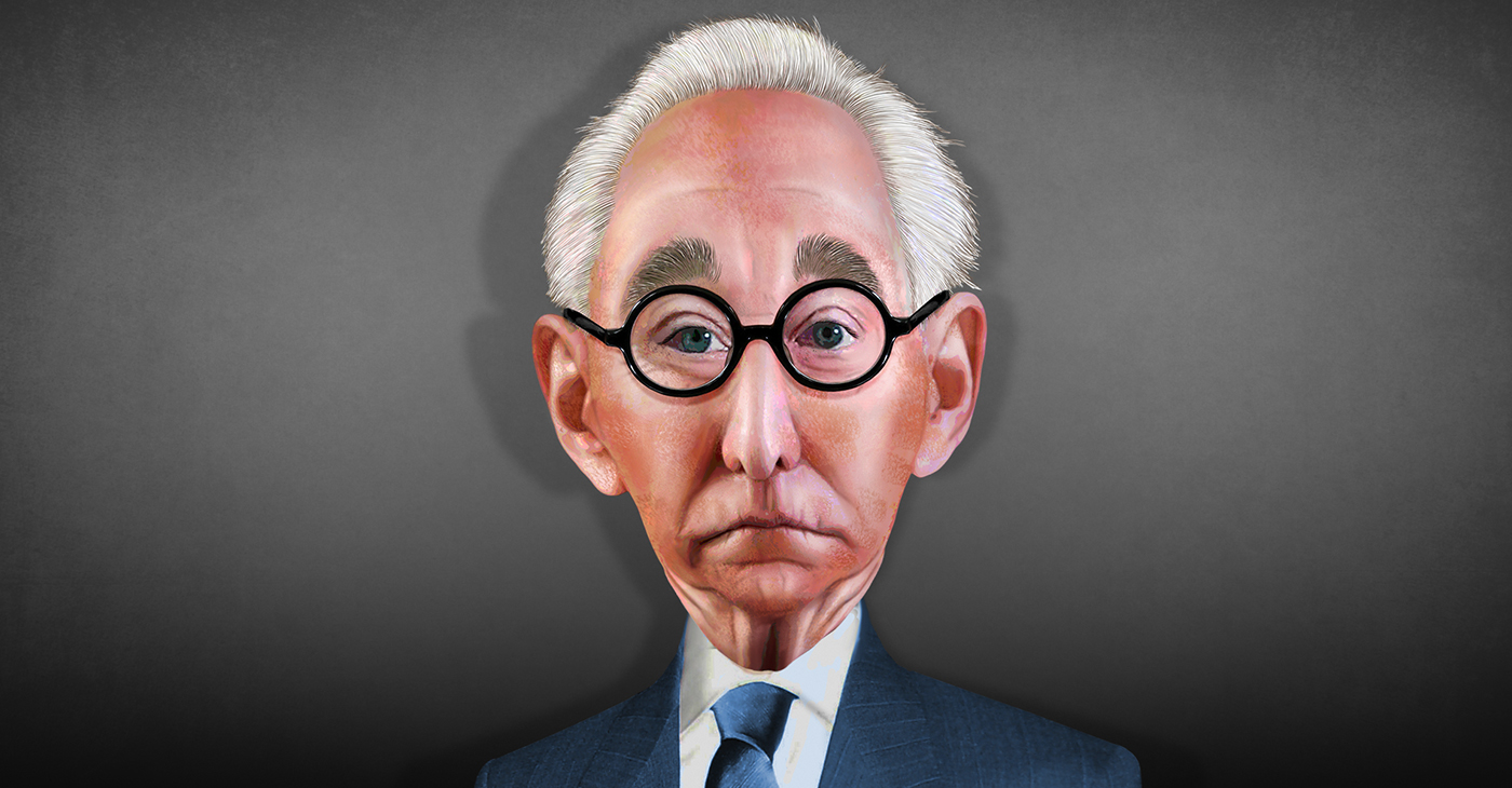 Roger Jason Stone Jr., aka Roger Stone, is a long-time political operative. This caricature of Roger Stone is an original Photoshop painting. (Illustration: DonkeyHotey / Wikimedia Commons)