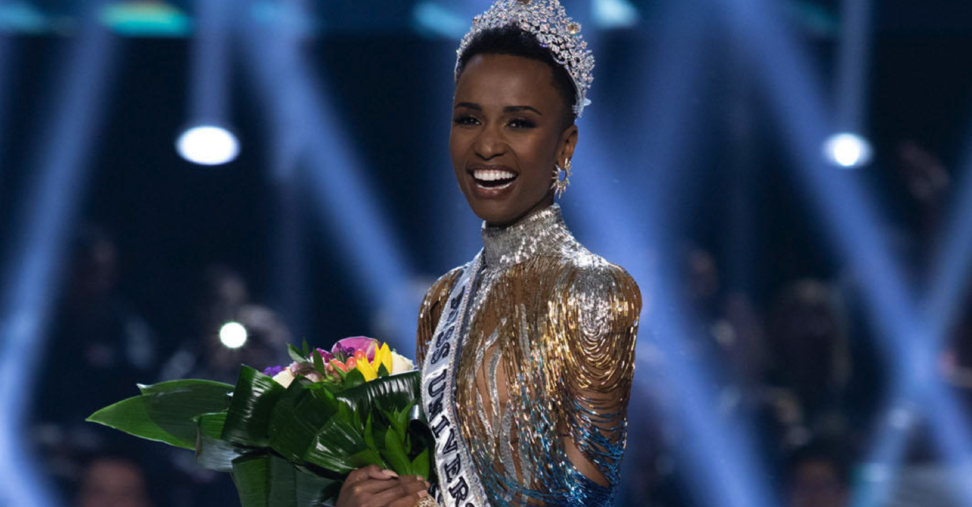 Zozibini Tunzi, Miss South Africa 2019 is crowned Miss Universe at the conclusion of The MISS UNIVERSE® Competition on FOX at 7:00 PM ET on Sunday, December 8, 2019 live from Tyler Perry Studios in Atlanta. The new winner will move to New York City where she will live during her reign and become a spokesperson for various causes alongside The Miss Universe Organization. HO/The Miss Universe Organization (Wikimedia Commons)