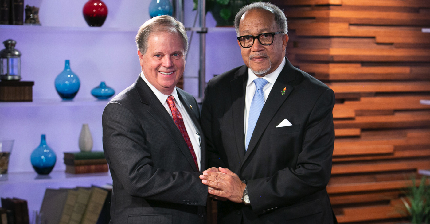 Senator Doug Jones (D-AL) and Dr. Benjamin F. Chavis Jr., President and CEO of the National Newspaper Publishers Association meet for an Exclusive Fireside Chat on Black voter turnout, the Reauthorization of the Voting Rights Act, bipartisan politics, the Futures Act, environmental justice and the administration's current military actions.