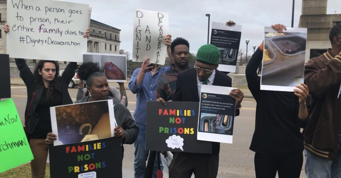 Protestors rally outside the Mississippi State Capitol building. (Photo by Lerae Funderburg for Steed Media)