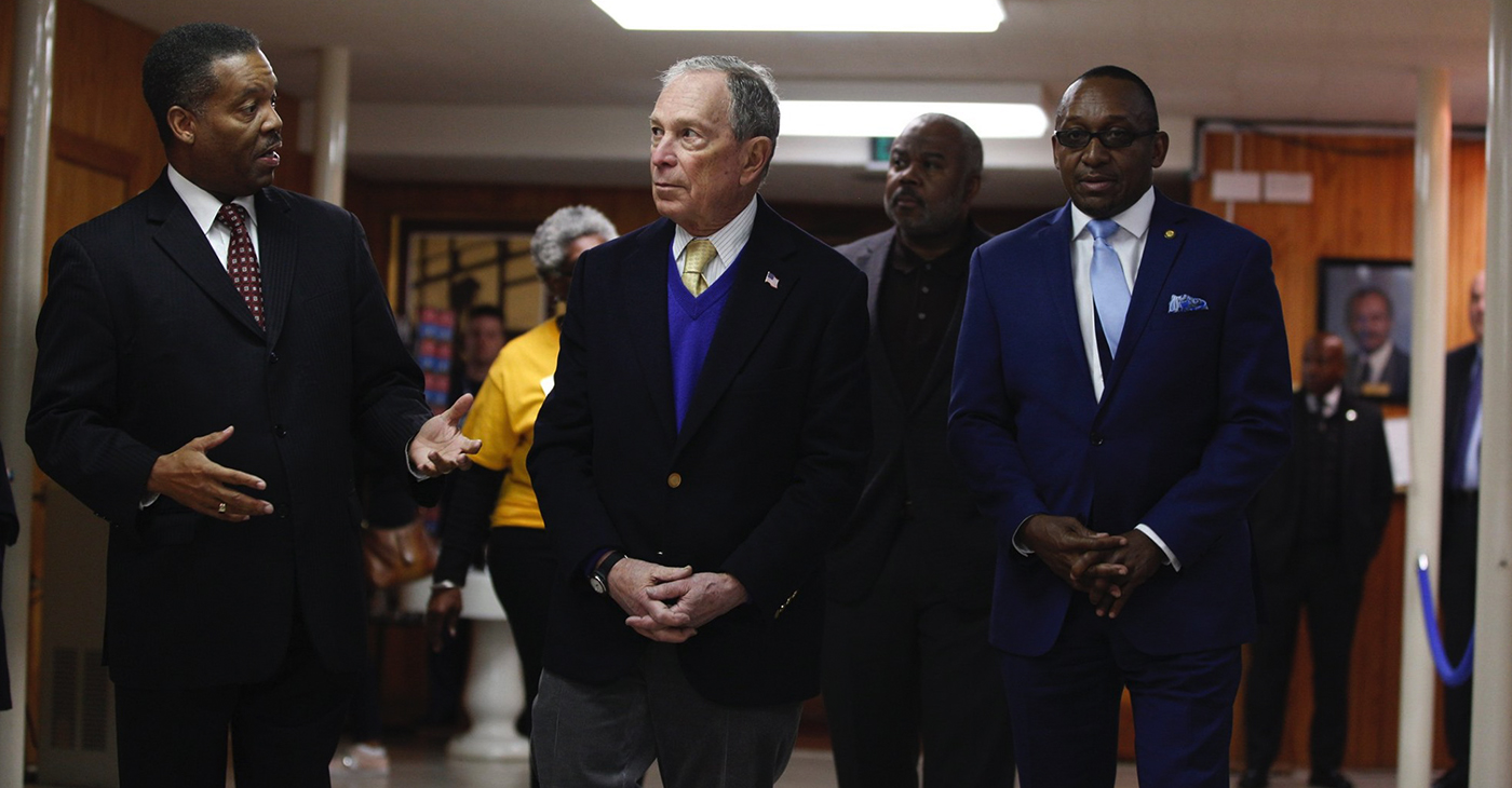 Mike Bloomberg visits the Dexter Avenue King Memorial Baptist Church in Alabama. Originally founded in the holding pen of a slave trader, the church was eventually led by one of our greatest Americans, Dr. Martin Luther King, Jr. (Pictured left to right: Rev. Cromwell Handy, Mike Bloomberg, ASU President Quinton Ross and Bloomberg Campaign co-chair, Bobby Singleton / Source: Facebook.com/mikebloomberg)