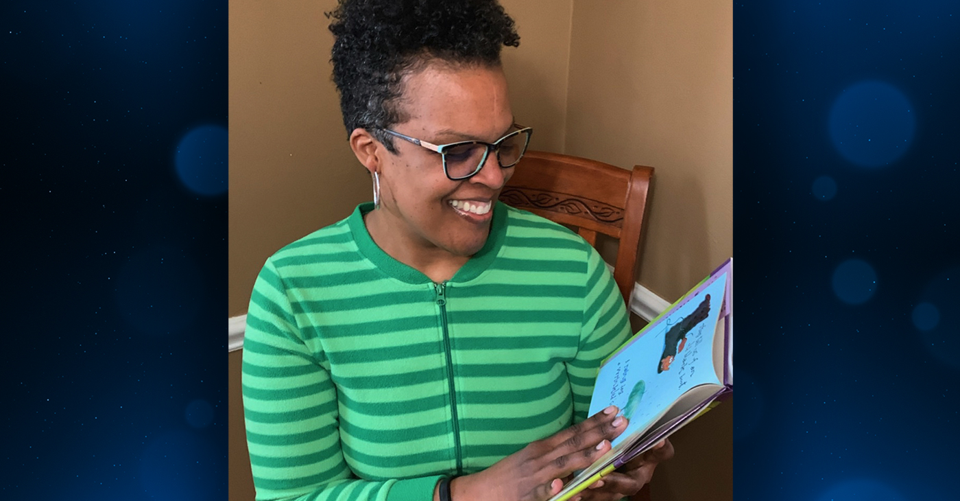 Detroit math teacher Voncile Campbell reads bedtime stories to her students during Michigan's school shutdown. Photo courtesy of Voncile Campbell