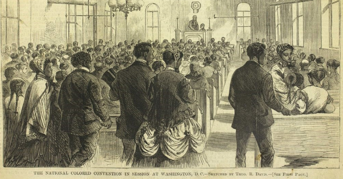 """""""The National Colored Convention in Session at Washington, DC."""" Harper's Weekly (February 6, 1869). Courtesy of the Library Company of Philadelphia, https://librarycompany.org/"""
