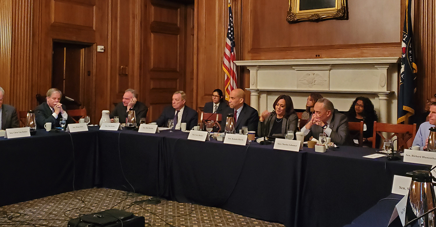 Led by Sens. Harris and Booker, the frank one-hour conversation which included remarks from Sens. Chuck Schumer (D-NY), Tim Kaine (D-Va.), Doug Jones (D-Ala.), Bob Casey (D-Pa.) and several others.