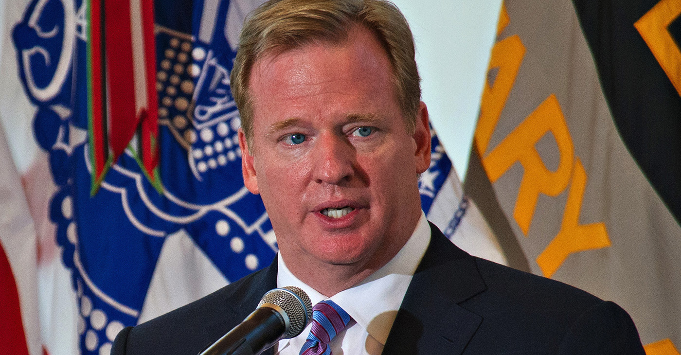 National Football League (NFL) Commissioner Roger Goodell delivers remarks during an event at the U.S. Military Academy at West Point, N.Y., launching an initiative between the Army and the NFL to work to raise awareness about traumatic brain injury. (Photo: U.S. Defense website / SSG Teddy Wade / Wikimedia Commons)